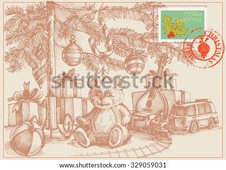Christmas card, gifts and toys under the Christmas tree, retro style - stock vector