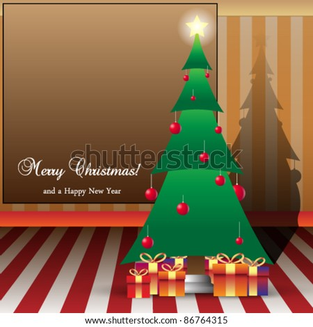 Christmas Card Illustration Tree and peasants with Copy space - stock vector