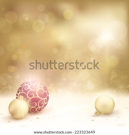 Christmas card in desaturated golden shades with light effects. Christmas baubles, blurry light dots and baubles make it a gorgeous Christmas background with a festive and dreamy feeling. - stock vector