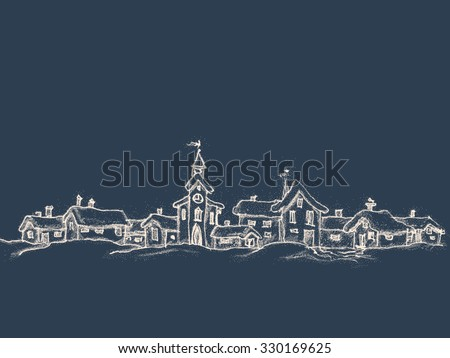 Christmas card in retro style with place for text. Winter landscape with a small village. Drawing a white chalk on a black background.  Vector illustration.