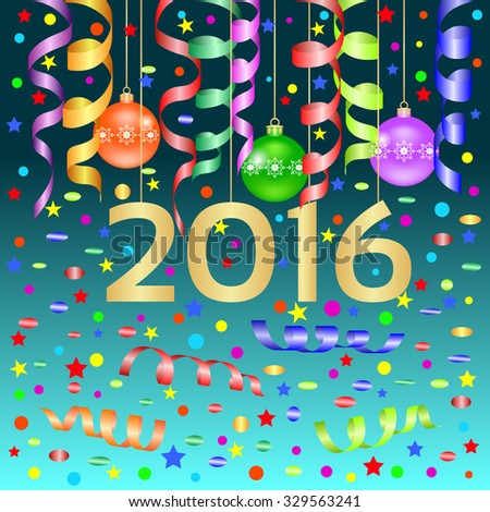 Christmas card, New Year banner with balloons, streamers, confetti and the number 2016