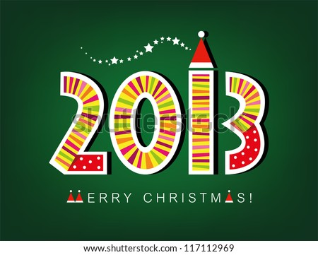 Christmas card, 2013 new year card, funny christmas card - stock vector