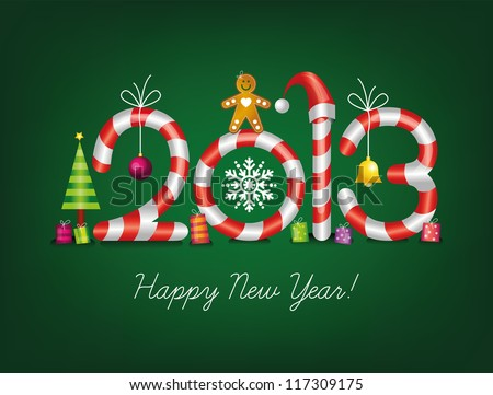 Christmas card, 2013 new year card, Happy new year, Merry Christmas , Christmas decorations - stock vector