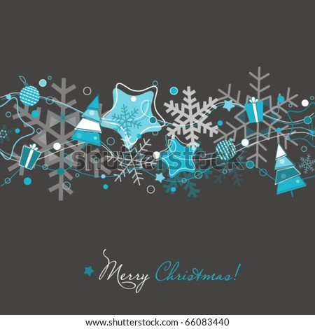 Christmas card on grey - stock vector