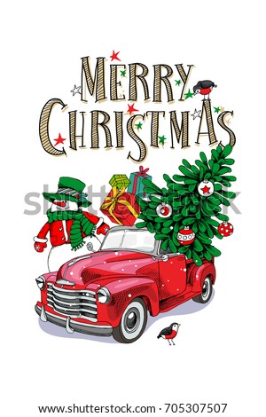 Christmas Card Red Retro Truck With A Fir Tree Gifts And Snowman