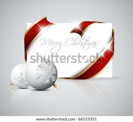 Christmas card - red  ribbon around blank paper with christmas decorations - stock vector