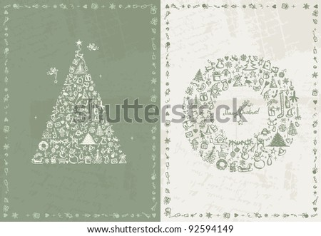 Christmas card retro for your design - stock vector