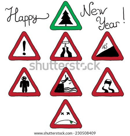 Christmas card road signs. vetorna�¢ illustration