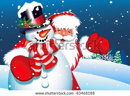 christmas card santa claus and snowman for your design - stock vector