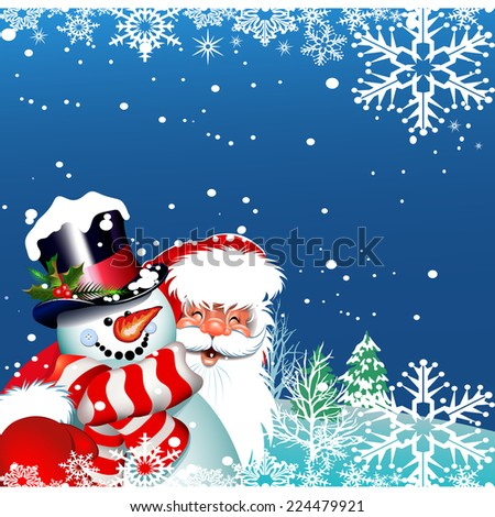 Christmas card Santa Claus and snowman. Happy New Year - stock vector