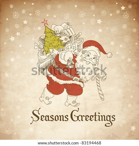 Christmas Card. Santa Claus with Bag of gifts. Vector - stock vector