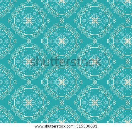 Christmas Card Seamless Pattern. Blue and tan snowflake elements on teal, aqua background. Christmas Wrapping Paper. Xmas texture. Vector - stock vector