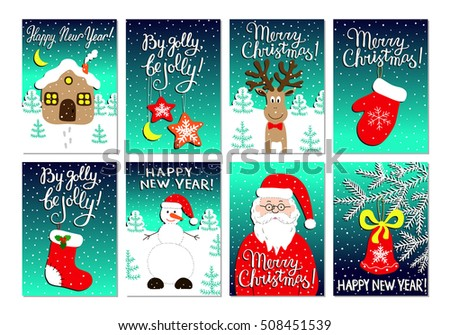 Christmas card set with Santa Claus, glove, sock, house, snowman, deer, stars and bell on the fir branch. New year postcards. Kids doodle style drawings. EPS 10 vector illustration with lettering.