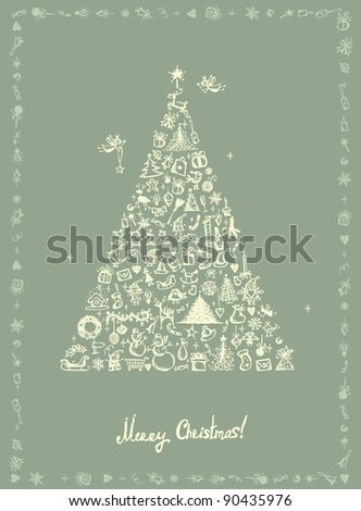 Christmas card, sketch drawing for your design - stock vector
