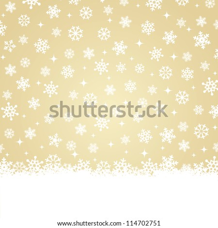 Christmas card - Snow on gold background - stock vector