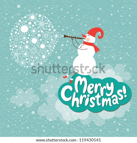 Christmas card, Snowman play on a horn - stock vector
