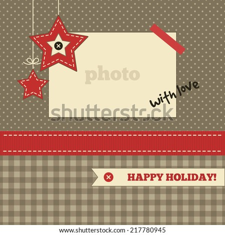 Christmas card template. Brown, red and cream colors. Photo frame and christmas decoration on a polka dot and plaid background - stock vector