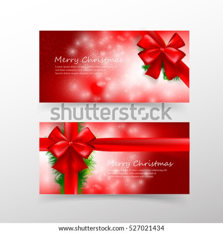 Christmas card template invitation gift voucher stock vector christmas card template for invitation and gift voucher with red ribbon and lighting effect element vector pronofoot35fo Choice Image