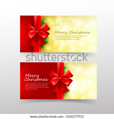 Christmas card template for invitation and gift voucher with red ribbon vector illustration eps 10