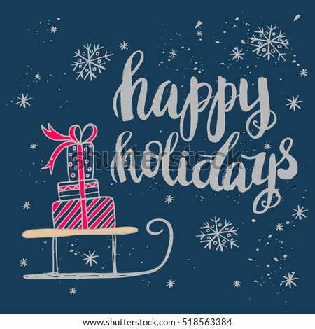 Christmas Card Template Hand Drawn Lettering Stock Vector