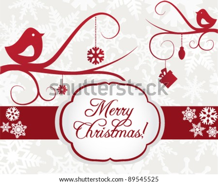 Christmas Card Template with Birds - stock vector
