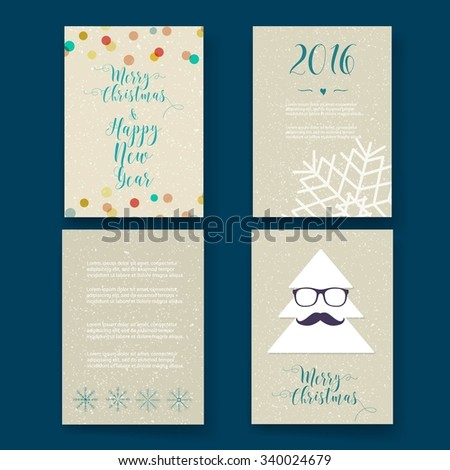 Christmas Card Templates Christmas Posters Set Stock Vector