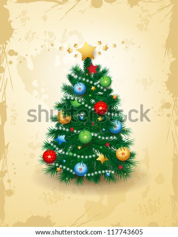 Christmas card, vector background. - stock vector