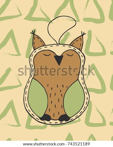 Christmas card vector hand drawn with cute cartoon xmas owl