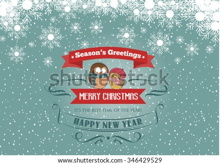 Christmas card with a couple of birds, vector eps 10 - stock vector