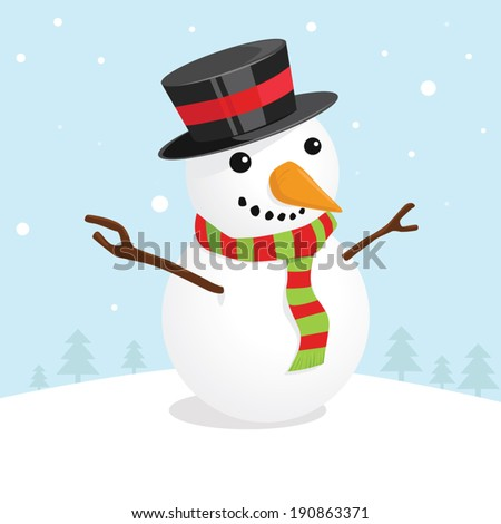 Christmas card with a cute snowman - stock vector