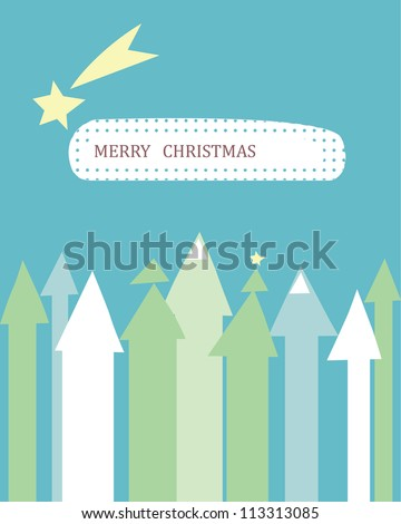 Christmas card with a flying comet