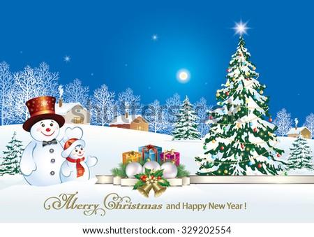 christmas card snowman christmas tree gifts stock vector 329202554