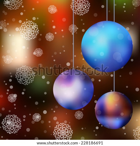 Christmas card with ball and snowflakes. Vector illustration
