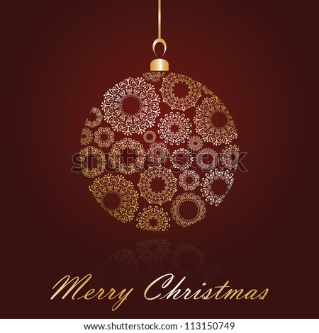 Christmas card with ball  on red background - stock vector