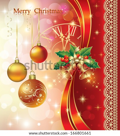 Christmas card with balls and bells - stock vector