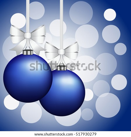Christmas card with balls and bows on a blue background