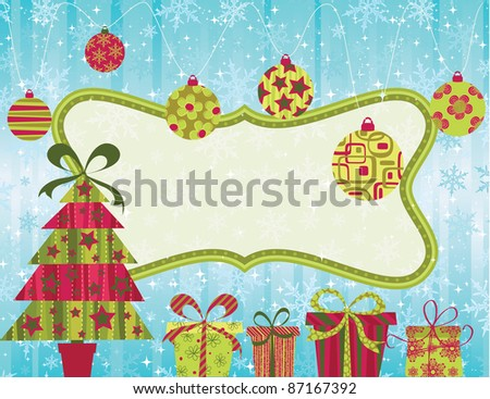 Christmas card with banner, tree and baubles.
