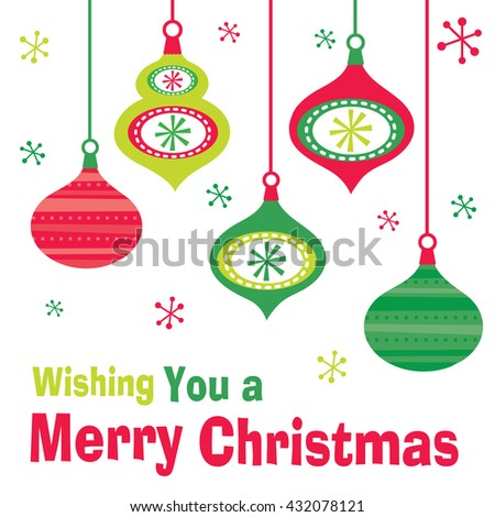 Christmas card with bauble design