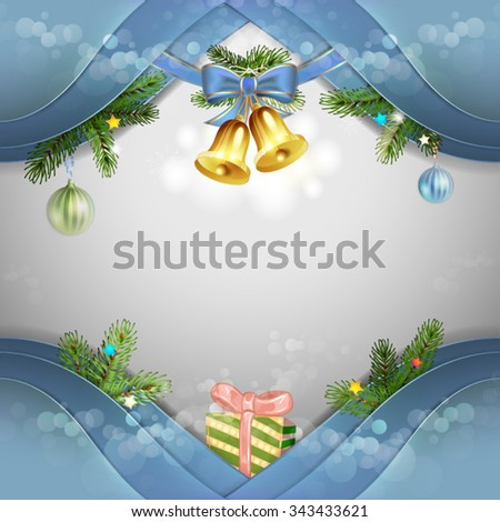 Christmas card with bells and bow - stock vector