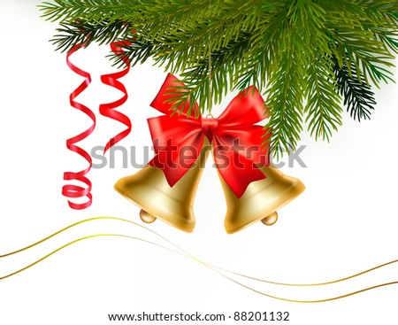 Christmas card with bells and bow. Vector illustration. - stock vector