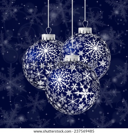Christmas card with black balls and snowflakes on dark blue background. - stock vector