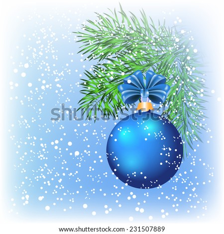 Christmas card with blue ball and snow