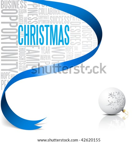 Christmas card with blue ribbon and white bulb (vector) - stock vector