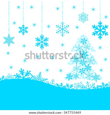 Christmas card with blue snowflakes and fir-tree on white background for your design. Winter card Merry Christmas, New Year and Happy Holiday. Vector illustration. - stock vector