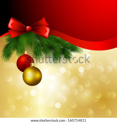 Christmas card with bow and balls - stock vector
