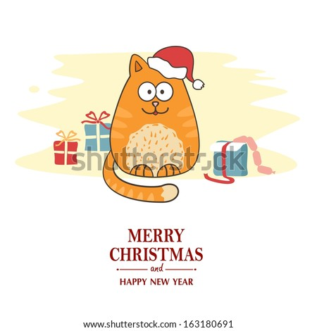 Christmas card with cartoon cat wearing a Santa hat. - stock vector