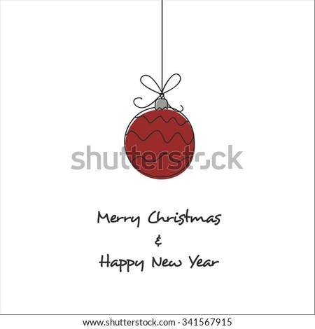 Christmas card with Christmas ball - stock vector