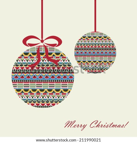 Christmas card with christmas ball in beautiful bright pattern