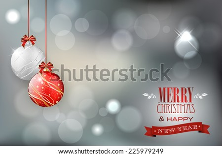 Christmas card with christmas balls on shiny background and place for your text. Vector illustration. - stock vector