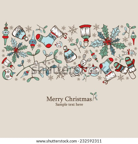 Christmas card with Christmas decorations  - stock vector